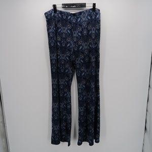 CATO Blue Paisley Print Wide Leg Pull On Pants